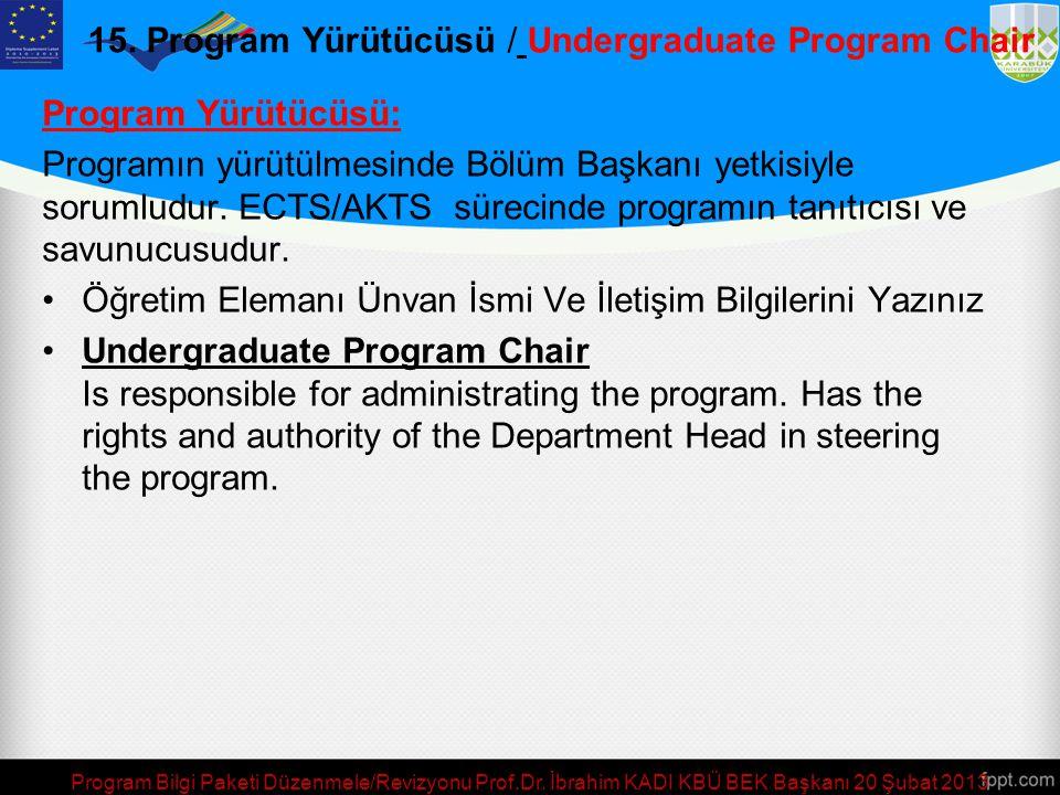 15. Bölüm Başkanı (ya da Eşdeğeri)/ Programme Director or Equivalent Bir Bölümde Birden fazla Program Varsa, Bu Programlardan Bölüm Başkanı Yetkisi İl