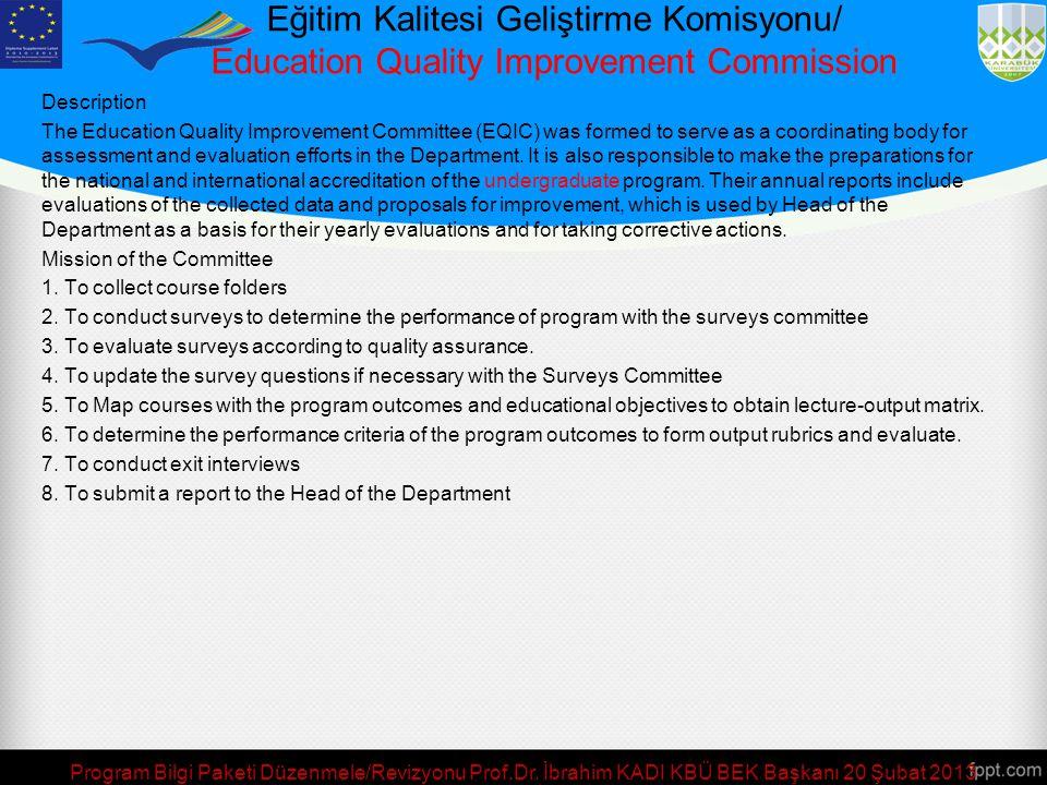 Program Bilgi Paketi Düzenmele/Revizyonu Prof.Dr. İbrahim KADI KBÜ BEK Başkanı 20 Şubat 2013 Görev Tanımı: Bölümün eğitim-öğretim, sektörle ilişkiler