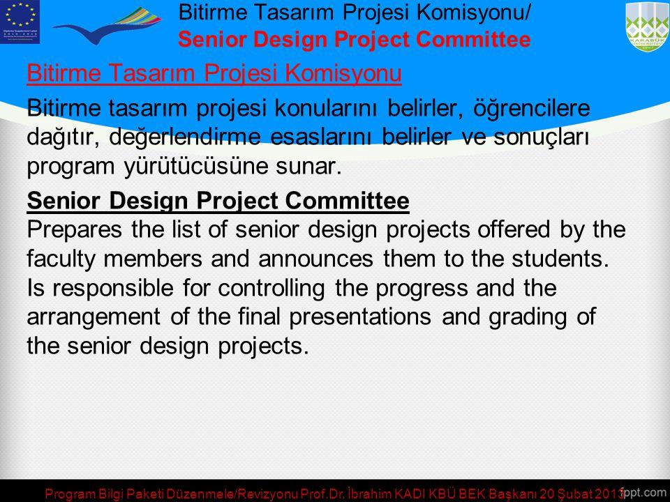 Program Bilgi Paketi Düzenmele/Revizyonu Prof.Dr. İbrahim KADI KBÜ BEK Başkanı 20 Şubat 2013 Eğitim Kalitesi Geliştirme Komisyonu/ Education Quality I
