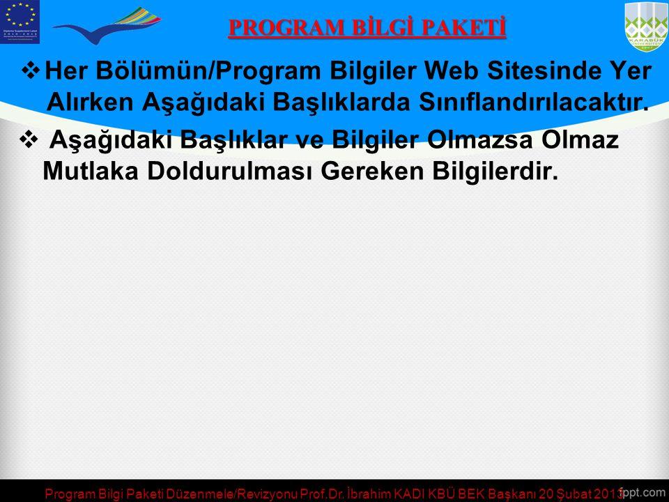  Her Bölümün/Program Bilgiler Web Sitesinde Yer Alırken Aşağıdaki Başlıklarda Sınıflandırılacaktır.