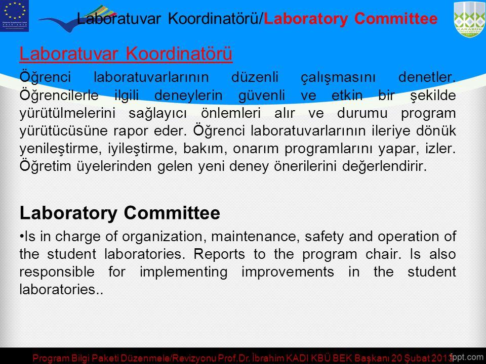 Program Bilgi Paketi Düzenmele/Revizyonu Prof.Dr. İbrahim KADI KBÜ BEK Başkanı 20 Şubat 2013 Bitirme Tasarım Projesi Komisyonu/ Senior Design Project