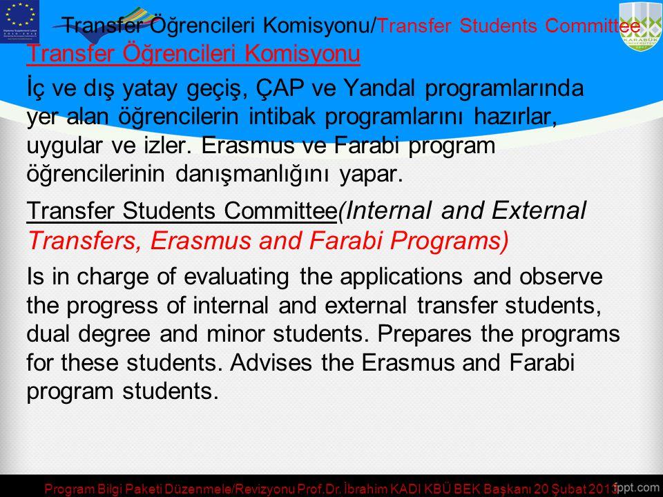 Program Bilgi Paketi Düzenmele/Revizyonu Prof.Dr. İbrahim KADI KBÜ BEK Başkanı 20 Şubat 2013 Laboratuvar Koordinatörü/Laboratory Committee Laboratuvar