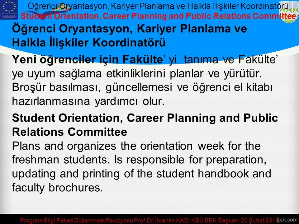 Program Bilgi Paketi Düzenmele/Revizyonu Prof.Dr. İbrahim KADI KBÜ BEK Başkanı 20 Şubat 2013 Staj Komisyonu / Internship Commission Staj Komisyonu Öğr