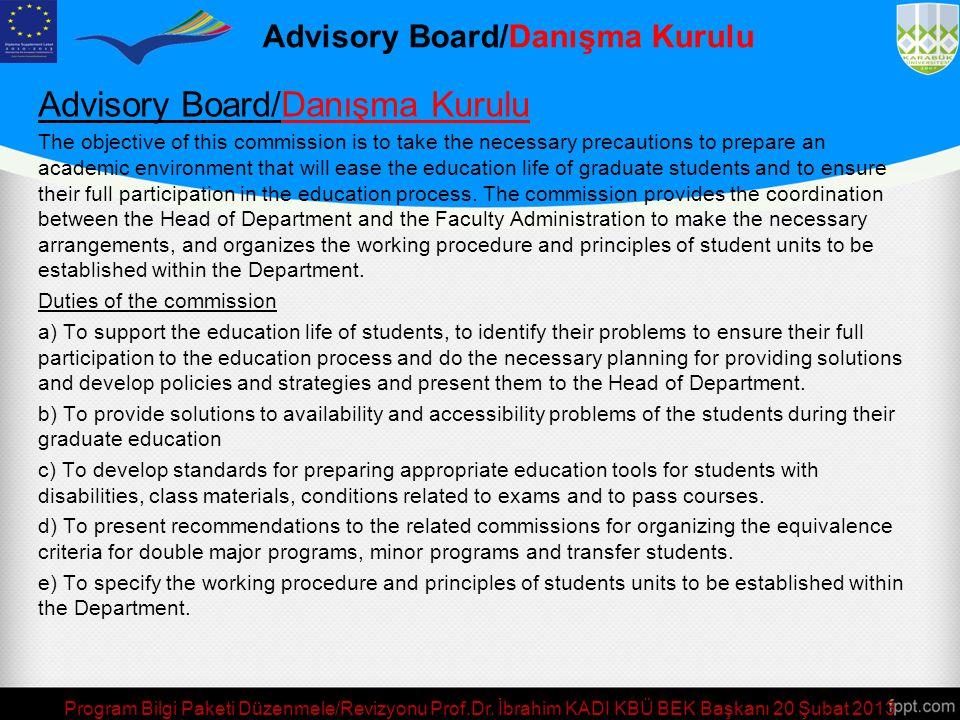 Program Bilgi Paketi Düzenmele/Revizyonu Prof.Dr. İbrahim KADI KBÜ BEK Başkanı 20 Şubat 2013 Halkla İlişkiler ve Web Sayfası Koordinatörü/ Public Rela