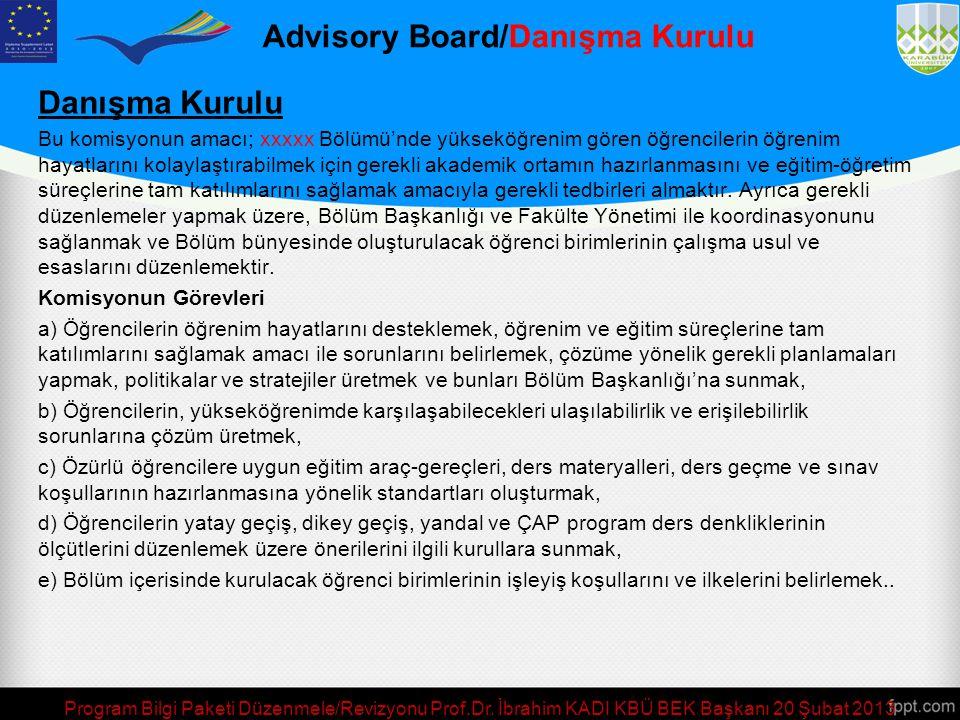 Program Bilgi Paketi Düzenmele/Revizyonu Prof.Dr. İbrahim KADI KBÜ BEK Başkanı 20 Şubat 2013 Advisory Board/Danışma Kurulu The objective of this commi
