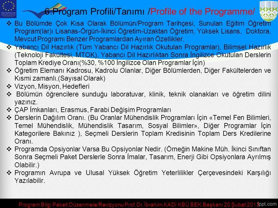 Program Bilgi Paketi Düzenmele/Revizyonu Prof.Dr.