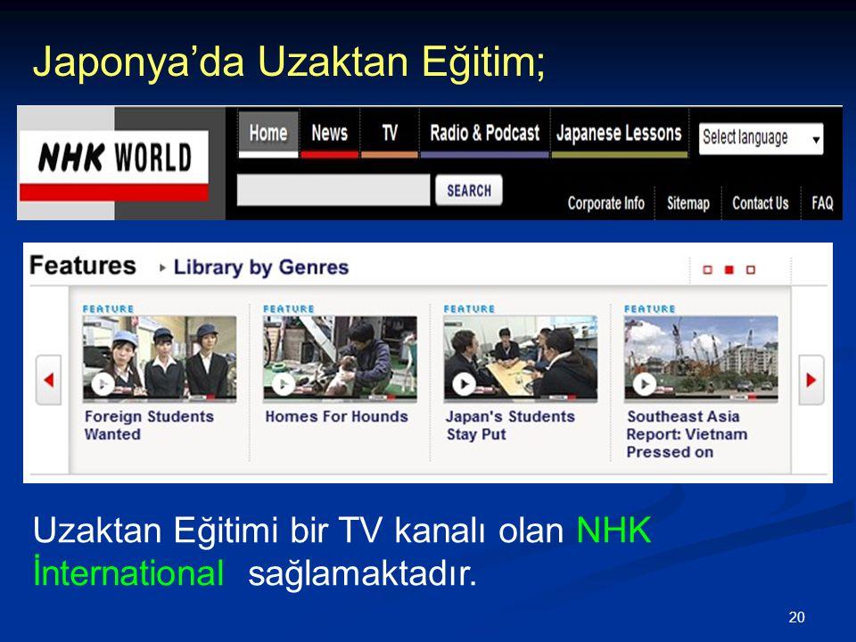 20 Japonya'da Uzaktan Eğitim; Uzaktan Eğitimi bir TV kanalı olan NHK İnternational sağlamaktadır.