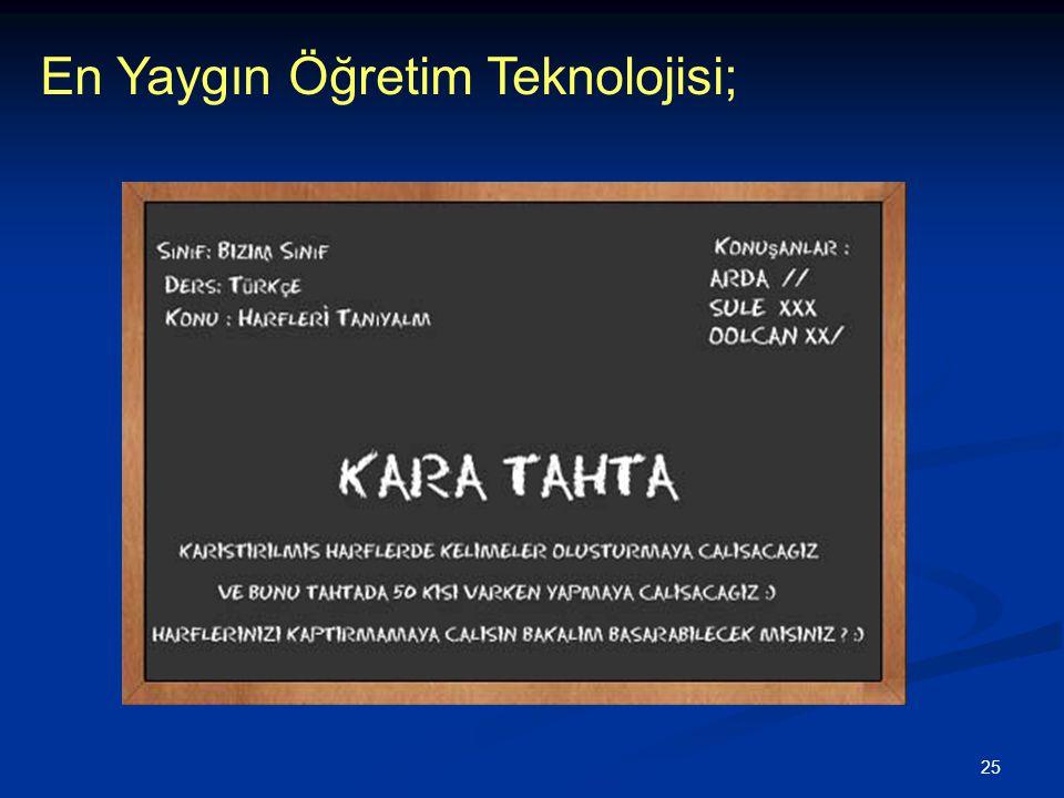 25 En Yaygın Öğretim Teknolojisi;