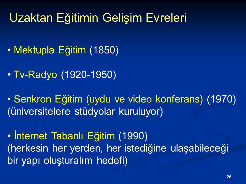 26 Uzaktan Eğitimin Gelişim Evreleri • Mektupla Eğitim (1850) • Tv-Radyo (1920-1950) • Senkron Eğitim (uydu ve video konferans) (1970) (üniversitelere