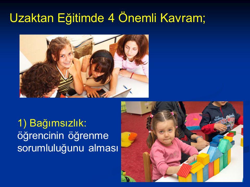 31 1) Bağımsızlık: öğrencinin öğrenme sorumluluğunu alması Uzaktan Eğitimde 4 Önemli Kavram;
