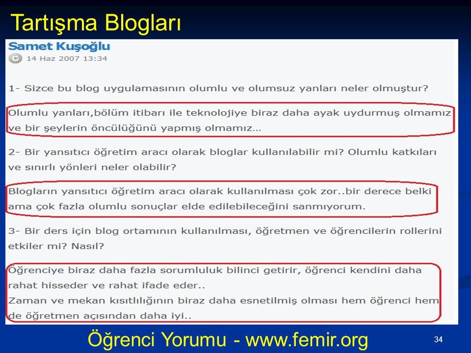 34 Öğrenci Yorumu - www.femir.org Tartışma Blogları