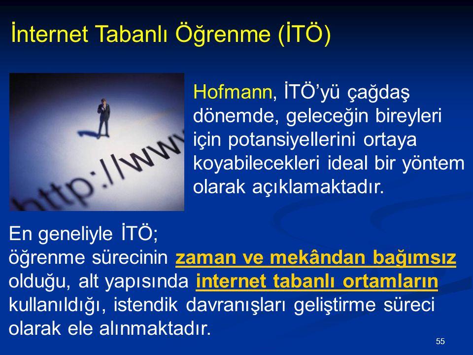 55 İnternet Tabanlı Öğrenme (İTÖ) En geneliyle İTÖ; öğrenme sürecinin zaman ve mekândan bağımsız olduğu, alt yapısında internet tabanlı ortamların kullanıldığı, istendik davranışları geliştirme süreci olarak ele alınmaktadır.