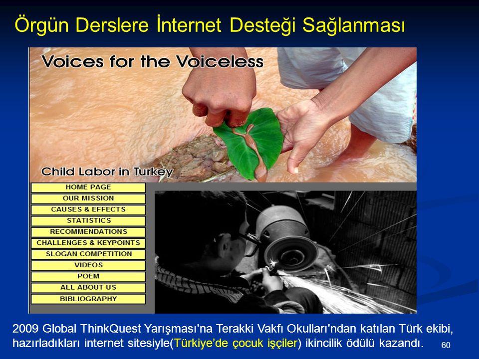60 Örgün Derslere İnternet Desteği Sağlanması 2009 Global ThinkQuest Yarışması na Terakki Vakfı Okulları ndan katılan Türk ekibi, hazırladıkları internet sitesiyle(Türkiye'de çocuk işçiler) ikincilik ödülü kazandı.