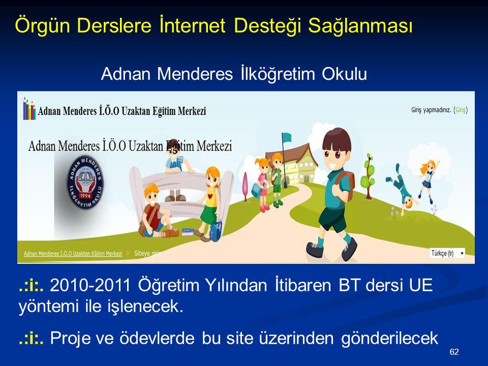 62 Örgün Derslere İnternet Desteği Sağlanması.:i:. 2010-2011 Öğretim Yılından İtibaren BT dersi UE yöntemi ile işlenecek..:i:. Proje ve ödevlerde bu s