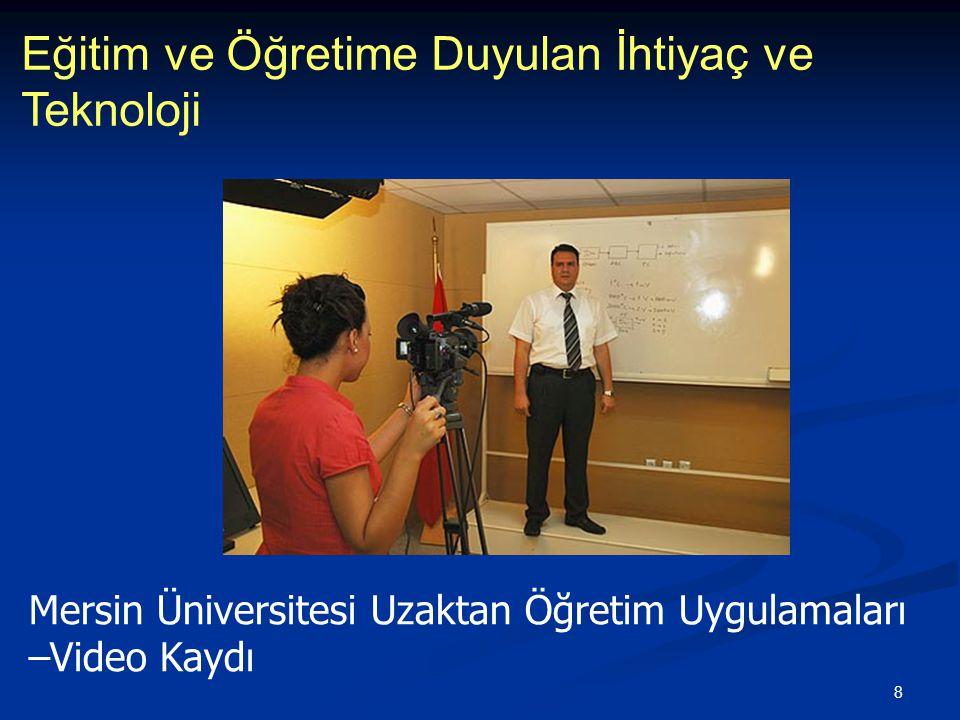 9 Eğitim ve Öğretime Duyulan İhtiyaç ve Teknoloji Mersin Üniversitesi Uzaktan Öğretim Uygulamaları –Video Kaydı