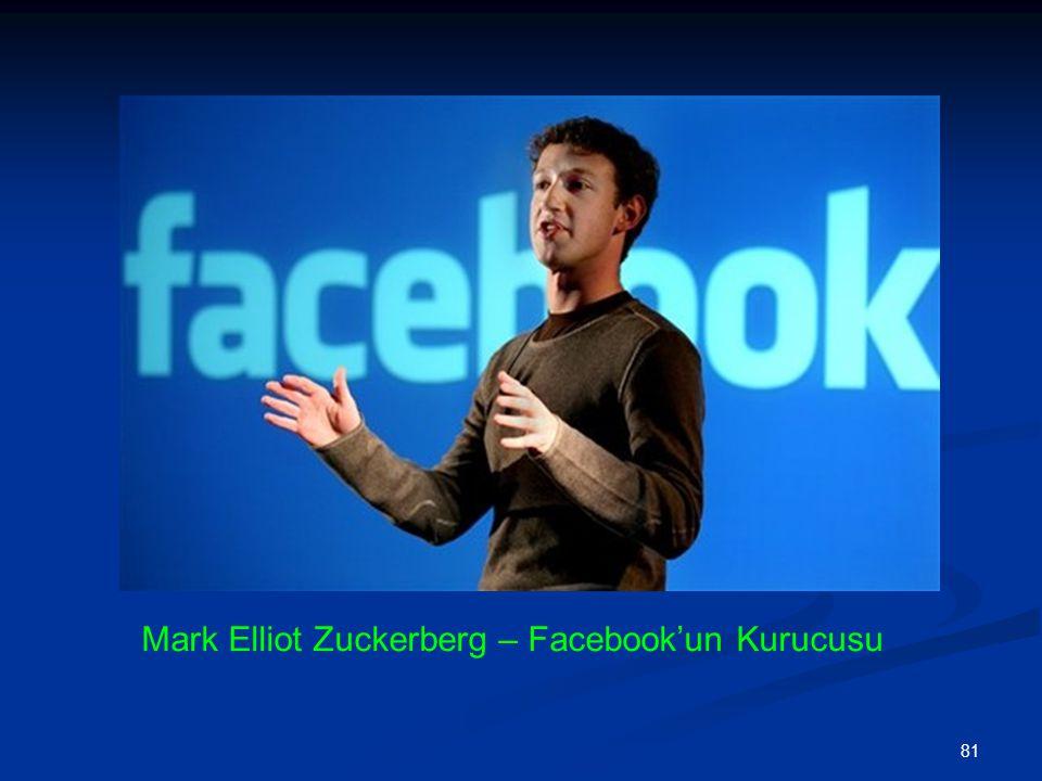 81 Mark Elliot Zuckerberg – Facebook'un Kurucusu