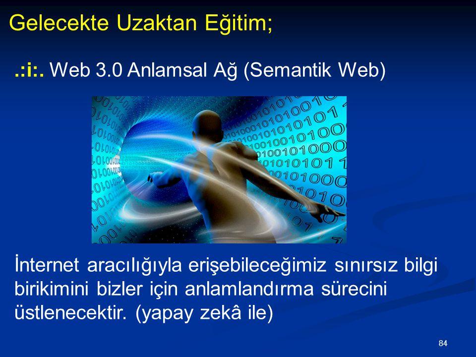 84 Gelecekte Uzaktan Eğitim;.:i:. Web 3.0 Anlamsal Ağ (Semantik Web) İnternet aracılığıyla erişebileceğimiz sınırsız bilgi birikimini bizler için anla