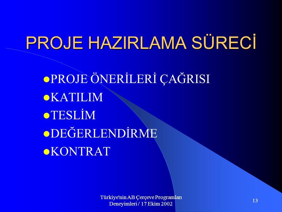 Türkiye nin AB Çerçeve Programları Deneyimleri / 17 Ekim 2002 13 PROJE HAZIRLAMA SÜRECİ  PROJE ÖNERİLERİ ÇAĞRISI  KATILIM  TESLİM  DEĞERLENDİRME  KONTRAT