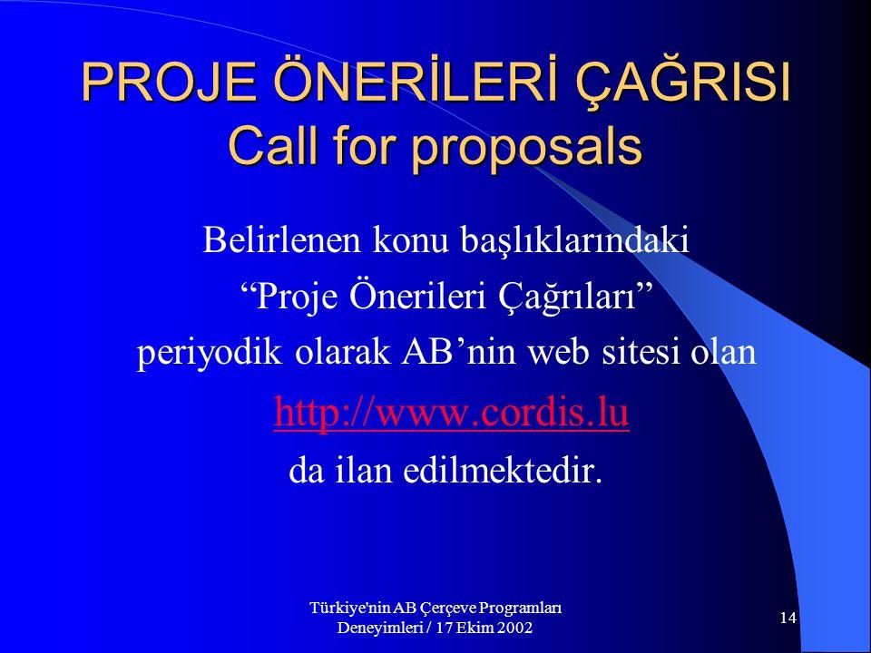 Türkiye nin AB Çerçeve Programları Deneyimleri / 17 Ekim 2002 14 PROJE ÖNERİLERİ ÇAĞRISI Call for proposals Belirlenen konu başlıklarındaki Proje Önerileri Çağrıları periyodik olarak AB'nin web sitesi olan http://www.cordis.lu da ilan edilmektedir.