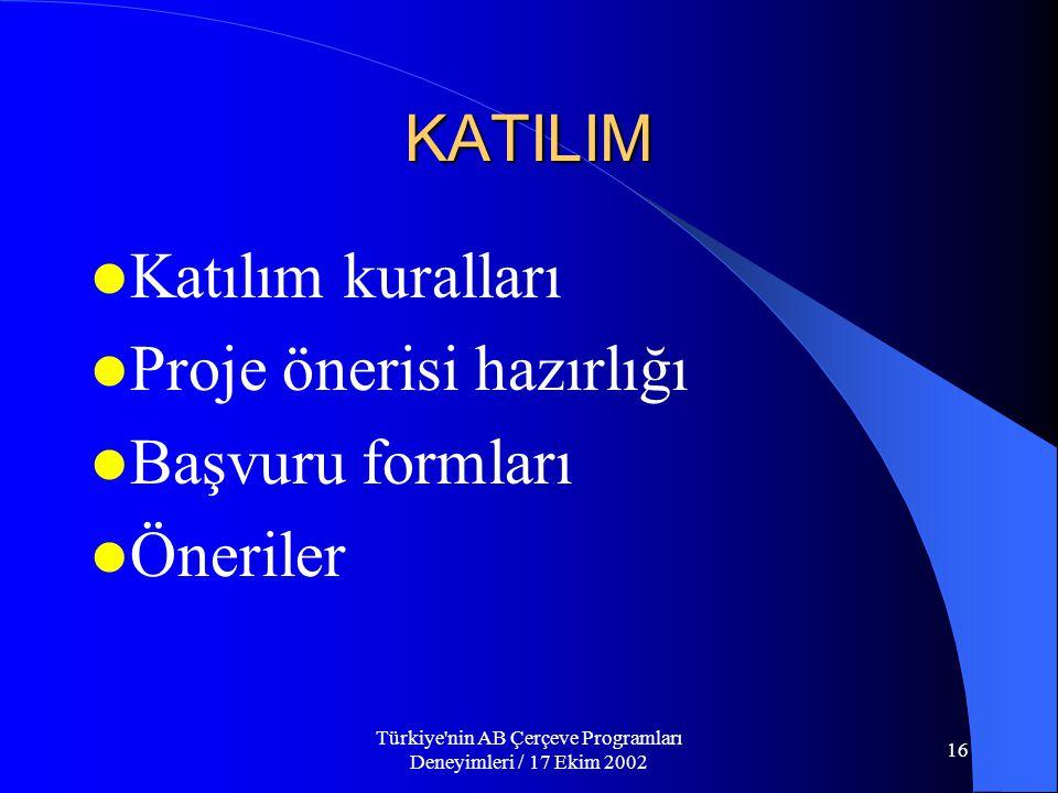 Türkiye nin AB Çerçeve Programları Deneyimleri / 17 Ekim 2002 16 KATILIM  Katılım kuralları  Proje önerisi hazırlığı  Başvuru formları  Öneriler