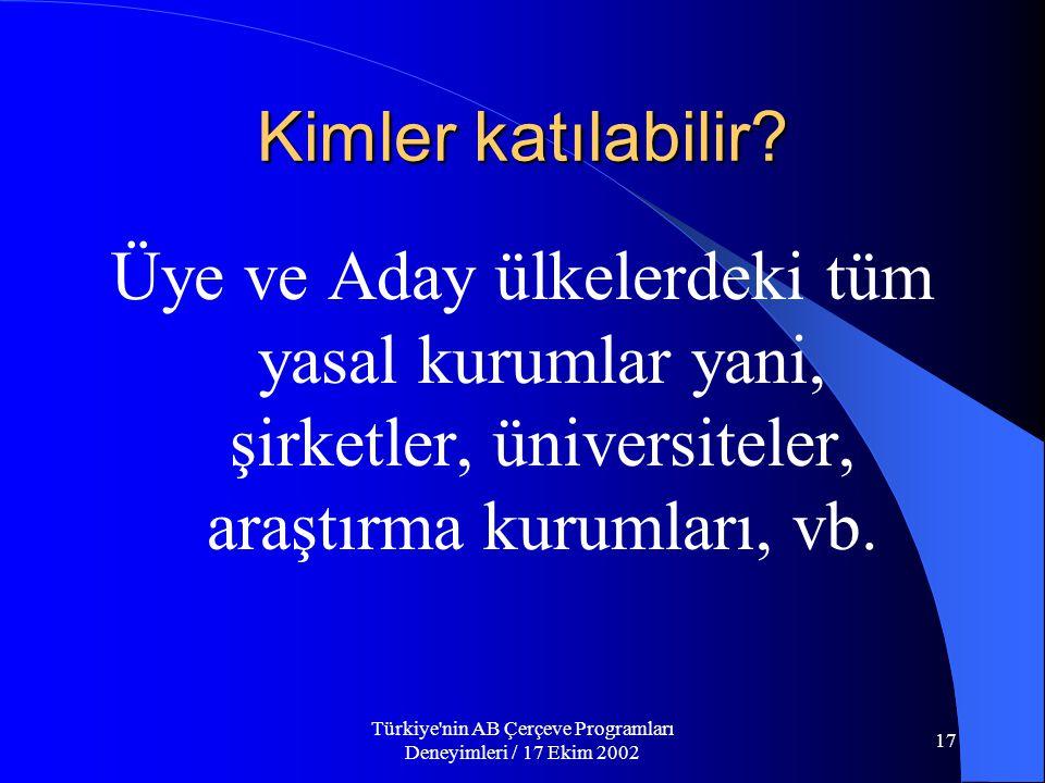 Türkiye nin AB Çerçeve Programları Deneyimleri / 17 Ekim 2002 17 Kimler katılabilir.