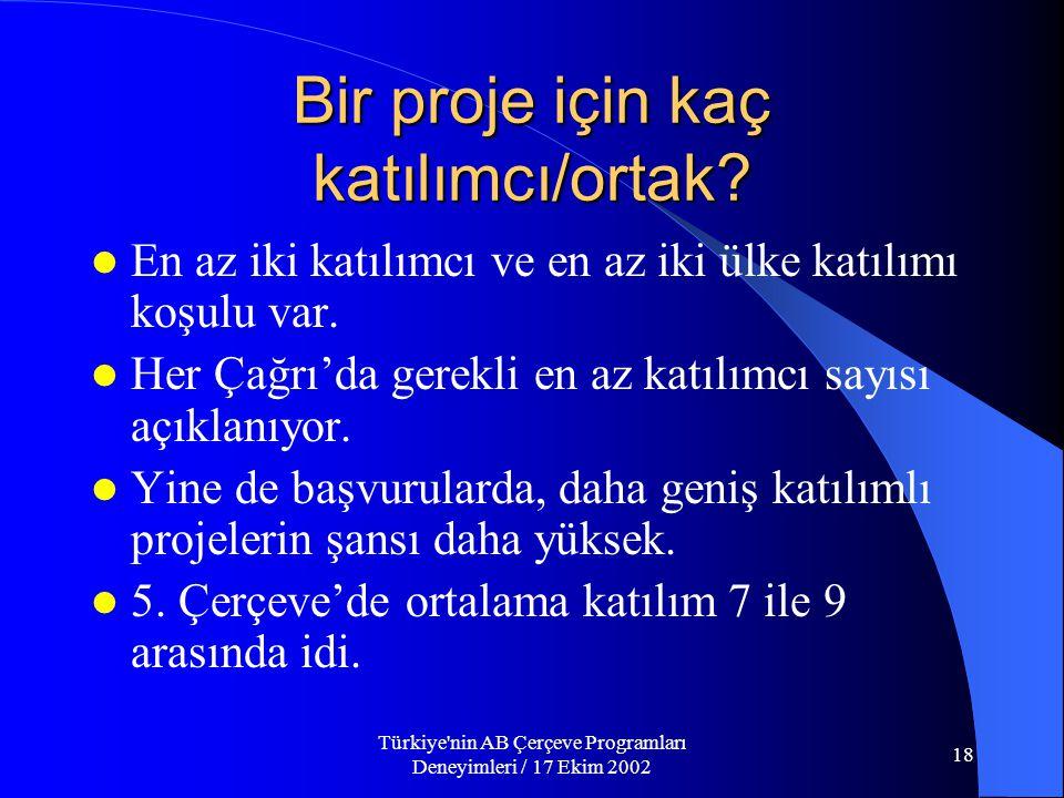 Türkiye nin AB Çerçeve Programları Deneyimleri / 17 Ekim 2002 18 Bir proje için kaç katılımcı/ortak.