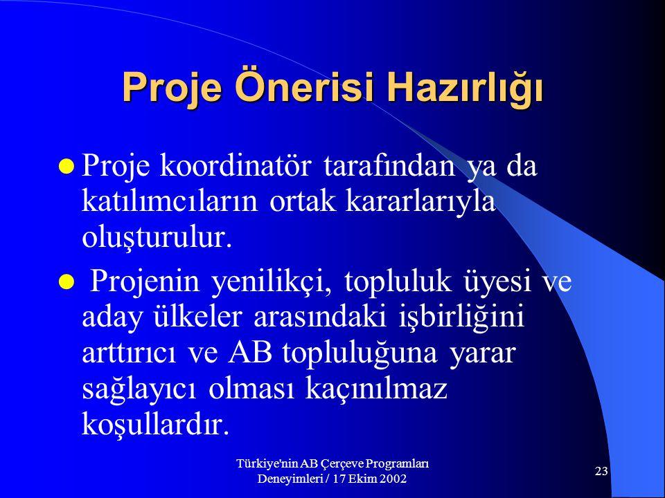 Türkiye nin AB Çerçeve Programları Deneyimleri / 17 Ekim 2002 23  Proje koordinatör tarafından ya da katılımcıların ortak kararlarıyla oluşturulur.