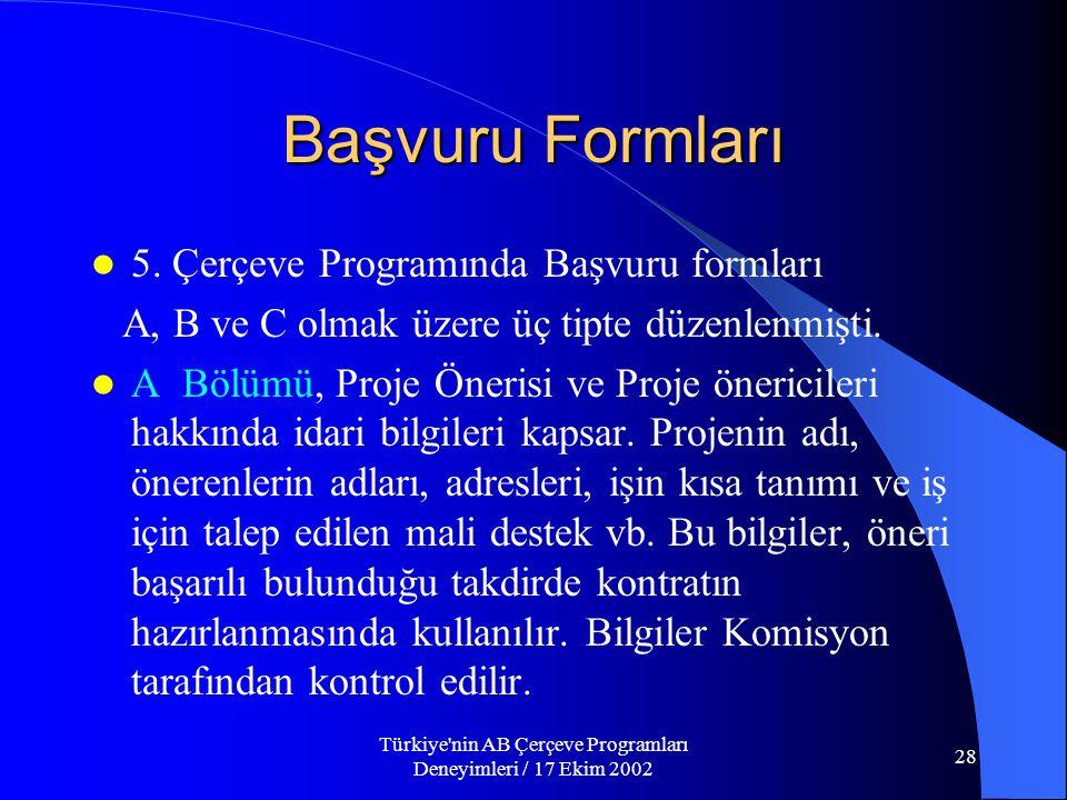 Türkiye nin AB Çerçeve Programları Deneyimleri / 17 Ekim 2002 28 Başvuru Formları  5.