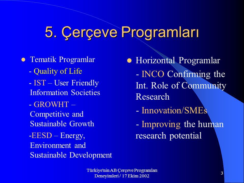 Türkiye nin AB Çerçeve Programları Deneyimleri / 17 Ekim 2002 3 5.