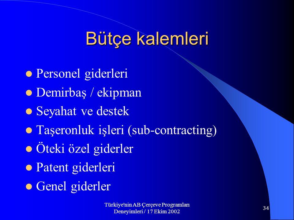 Türkiye nin AB Çerçeve Programları Deneyimleri / 17 Ekim 2002 34 Bütçe kalemleri  Personel giderleri  Demirbaş / ekipman  Seyahat ve destek  Taşeronluk işleri (sub-contracting)  Öteki özel giderler  Patent giderleri  Genel giderler