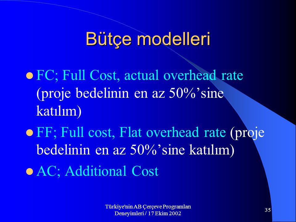 Türkiye nin AB Çerçeve Programları Deneyimleri / 17 Ekim 2002 35 Bütçe modelleri  FC; Full Cost, actual overhead rate (proje bedelinin en az 50%'sine katılım)  FF; Full cost, Flat overhead rate (proje bedelinin en az 50%'sine katılım)  AC; Additional Cost