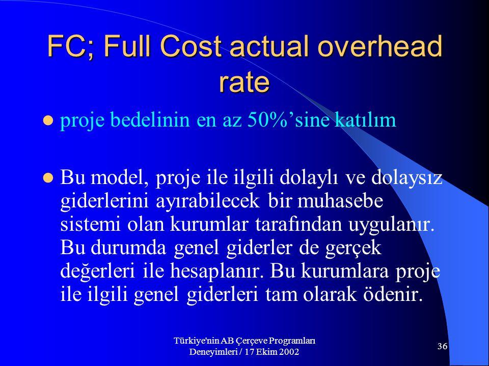 Türkiye nin AB Çerçeve Programları Deneyimleri / 17 Ekim 2002 36 FC; Full Cost actual overhead rate  proje bedelinin en az 50%'sine katılım  Bu model, proje ile ilgili dolaylı ve dolaysız giderlerini ayırabilecek bir muhasebe sistemi olan kurumlar tarafından uygulanır.