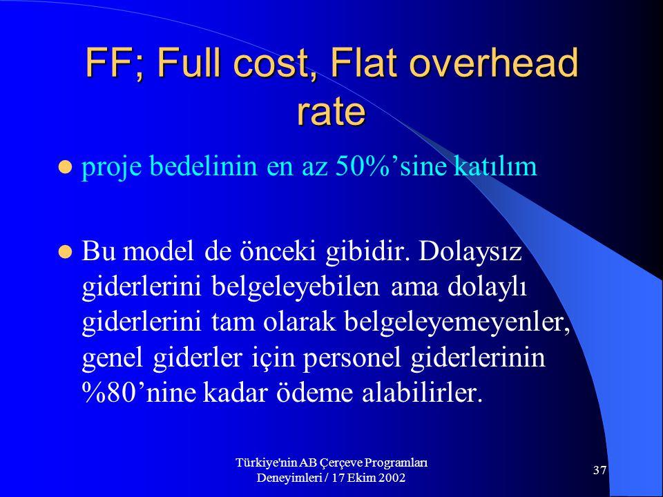 Türkiye nin AB Çerçeve Programları Deneyimleri / 17 Ekim 2002 37 FF; Full cost, Flat overhead rate  proje bedelinin en az 50%'sine katılım  Bu model de önceki gibidir.