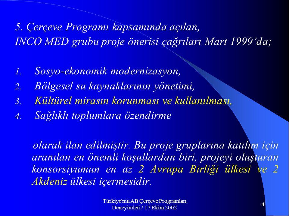 Türkiye nin AB Çerçeve Programları Deneyimleri / 17 Ekim 2002 4 5.