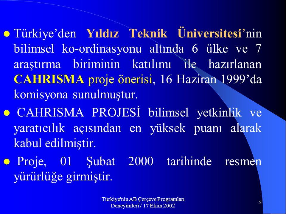 Türkiye nin AB Çerçeve Programları Deneyimleri / 17 Ekim 2002 5  Türkiye'den Yıldız Teknik Üniversitesi'nin bilimsel ko-ordinasyonu altında 6 ülke ve 7 araştırma biriminin katılımı ile hazırlanan CAHRISMA proje önerisi, 16 Haziran 1999'da komisyona sunulmuştur.