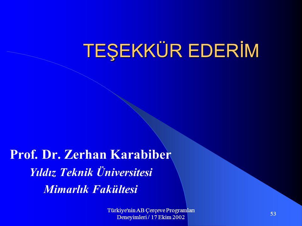 Türkiye nin AB Çerçeve Programları Deneyimleri / 17 Ekim 2002 53 TEŞEKKÜR EDERİM Prof.