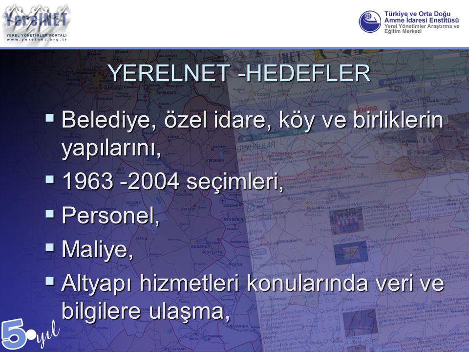 YERELNET -HEDEFLER  Belediye, özel idare, köy ve birliklerin yapılarını,  1963 -2004 seçimleri,  Personel,  Maliye,  Altyapı hizmetleri konuların