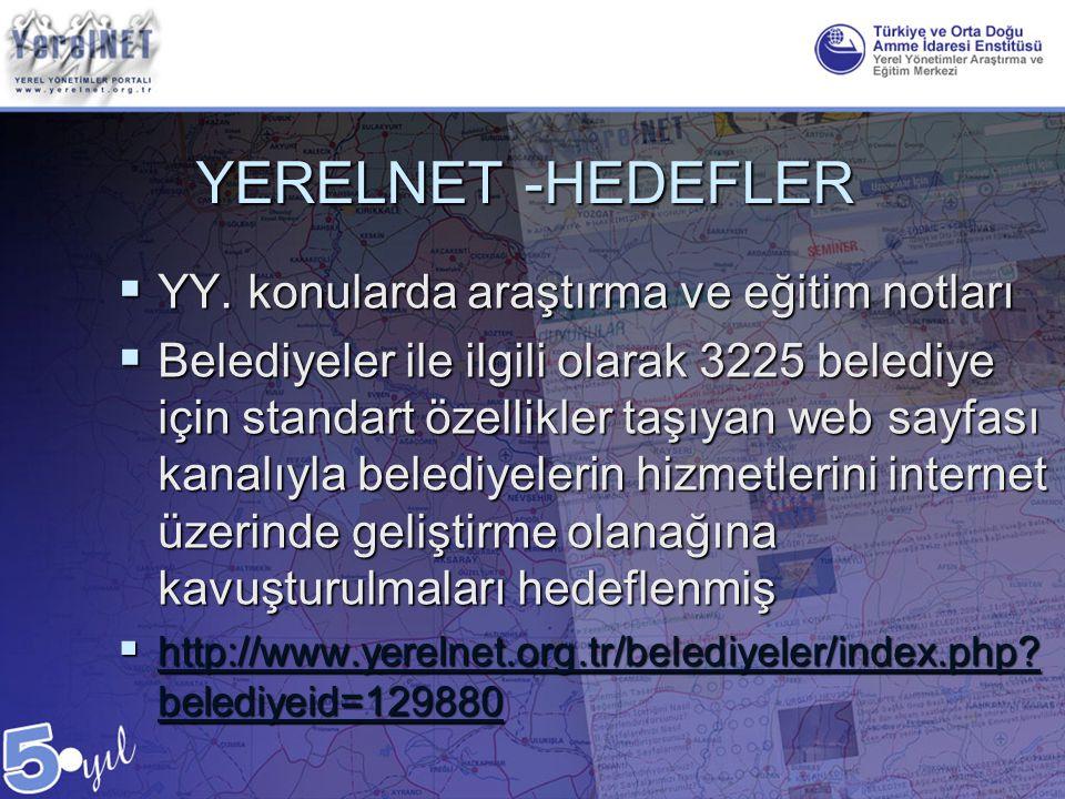 YERELNET -HEDEFLER  YY. konularda araştırma ve eğitim notları  Belediyeler ile ilgili olarak 3225 belediye için standart özellikler taşıyan web sayf