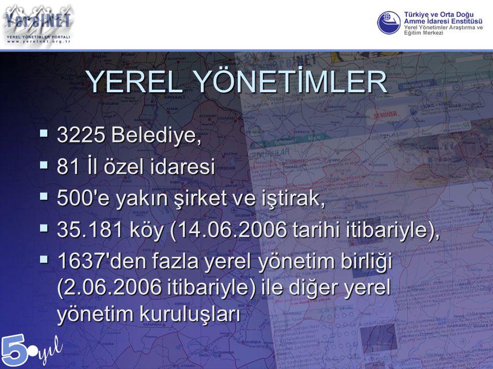 YEREL YÖNETİMLER  3225 Belediye,  81 İl özel idaresi  500'e yakın şirket ve iştirak,  35.181 köy (14.06.2006 tarihi itibariyle),  1637'den fazla