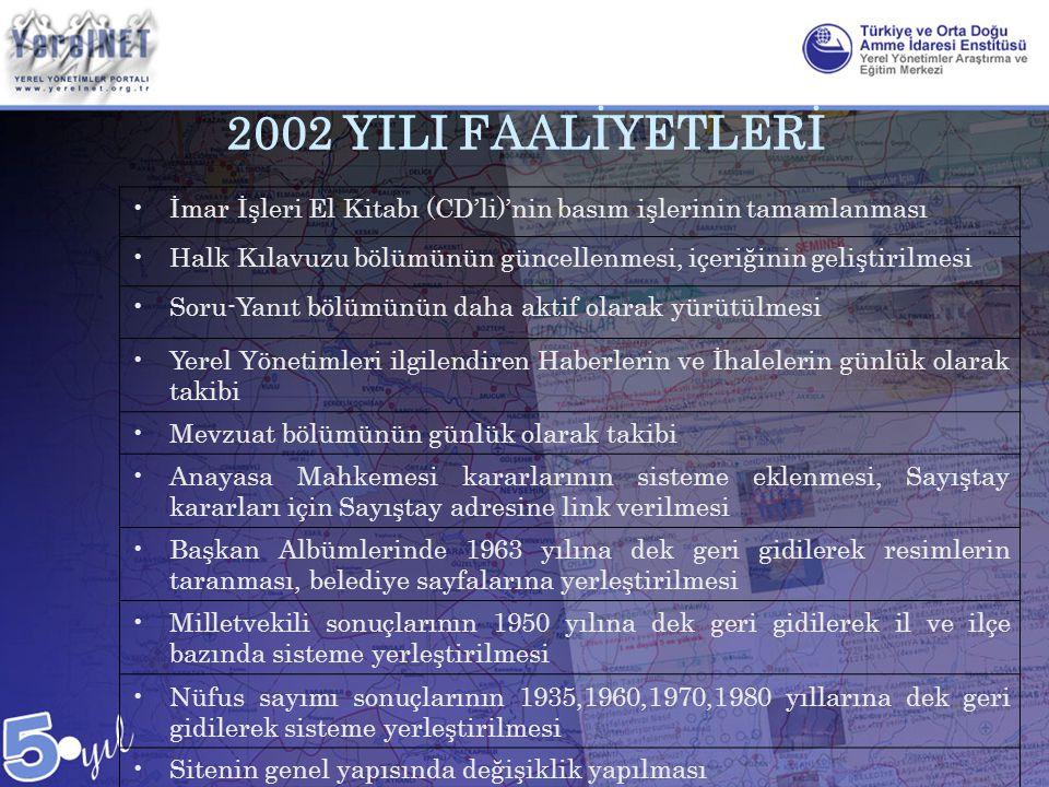 2002 YILI FAALİYETLERİ •İmar İşleri El Kitabı (CD'li)'nin basım işlerinin tamamlanması •Halk Kılavuzu bölümünün güncellenmesi, içeriğinin geliştirilme