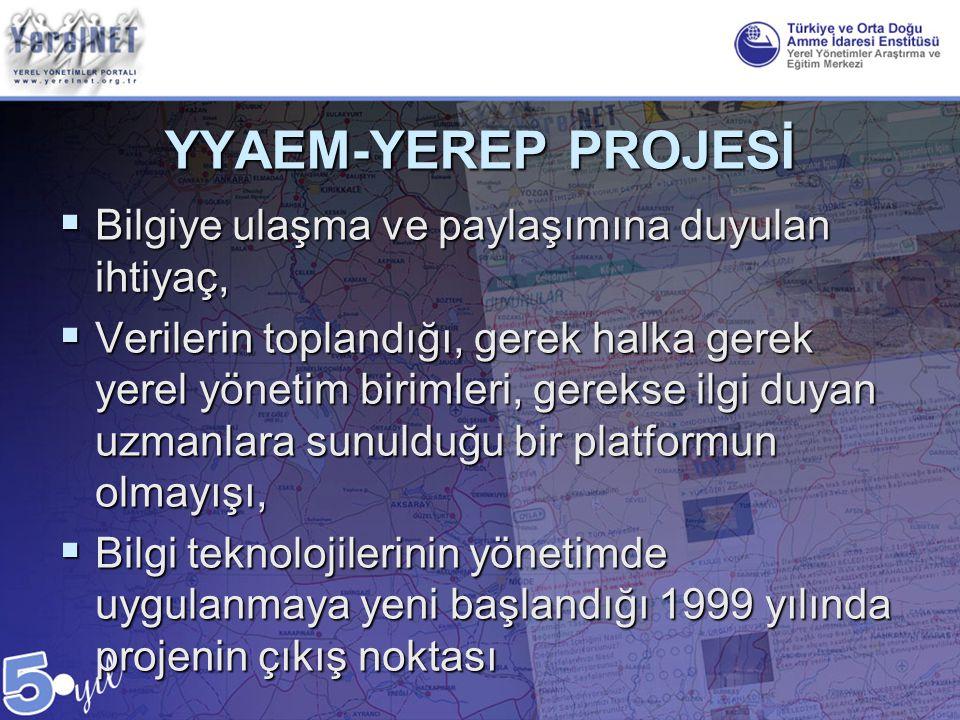 YYAEM-YEREP PROJESİ  Bilgiye ulaşma ve paylaşımına duyulan ihtiyaç,  Verilerin toplandığı, gerek halka gerek yerel yönetim birimleri, gerekse ilgi d