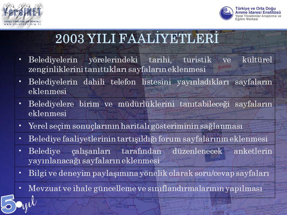 2003 YILI FAALİYETLERİ •Belediyelerin yörelerindeki tarihi, turistik ve kültürel zenginliklerini tanıttıkları sayfaların eklenmesi •Belediyelerin dahi