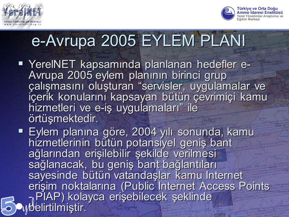 """e-Avrupa 2005 EYLEM PLANI  YerelNET kapsamında planlanan hedefler e- Avrupa 2005 eylem planının birinci grup çalışmasını oluşturan """"servisler, uygula"""