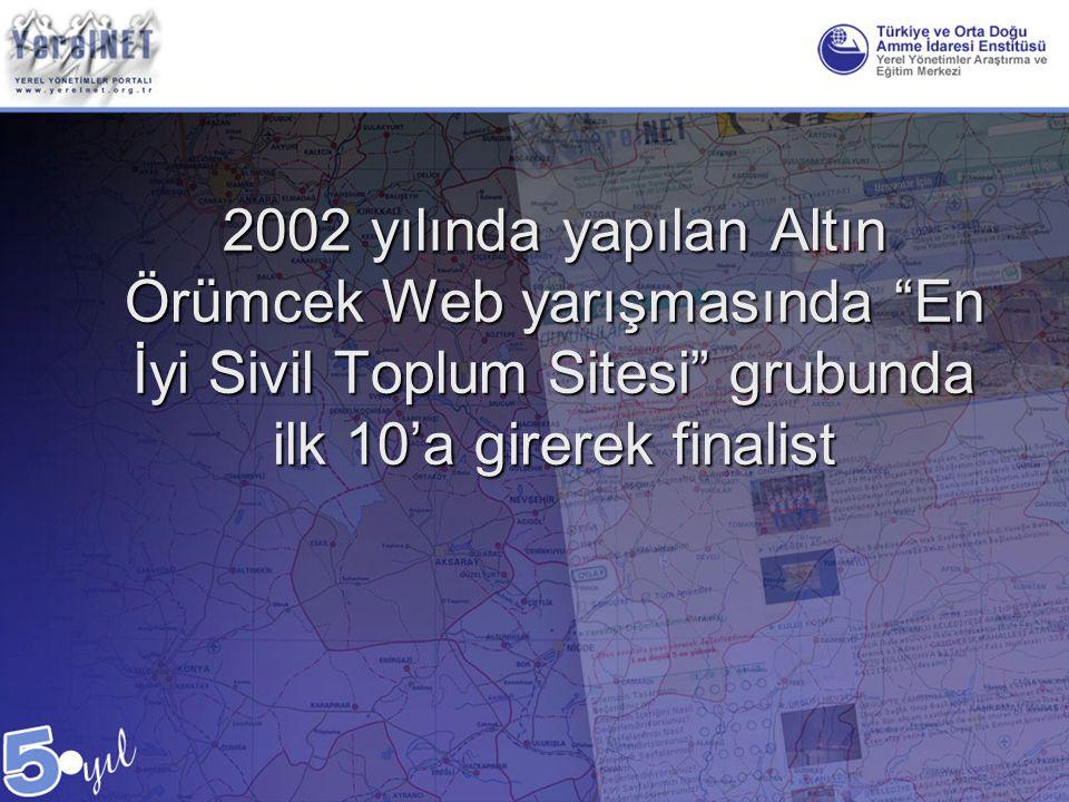 """2002 yılında yapılan Altın Örümcek Web yarışmasında """"En İyi Sivil Toplum Sitesi"""" grubunda ilk 10'a girerek finalist"""