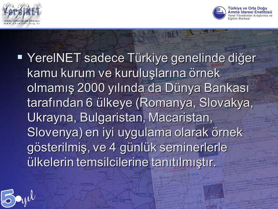  YerelNET sadece Türkiye genelinde diğer kamu kurum ve kuruluşlarına örnek olmamış 2000 yılında da Dünya Bankası tarafından 6 ülkeye (Romanya, Slovak