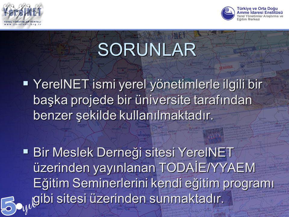 SORUNLAR  YerelNET ismi yerel yönetimlerle ilgili bir başka projede bir üniversite tarafından benzer şekilde kullanılmaktadır.  Bir Meslek Derneği s