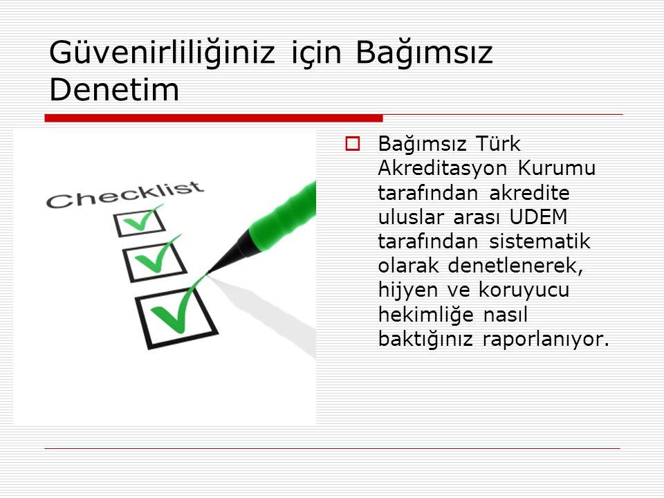 Güvenirliliğiniz için Bağımsız Denetim  Bağımsız Türk Akreditasyon Kurumu tarafından akredite uluslar arası UDEM tarafından sistematik olarak denetle