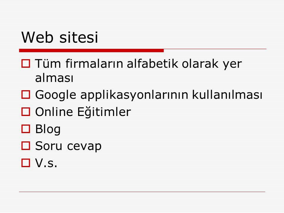Web sitesi  Tüm firmaların alfabetik olarak yer alması  Google applikasyonlarının kullanılması  Online Eğitimler  Blog  Soru cevap  V.s.