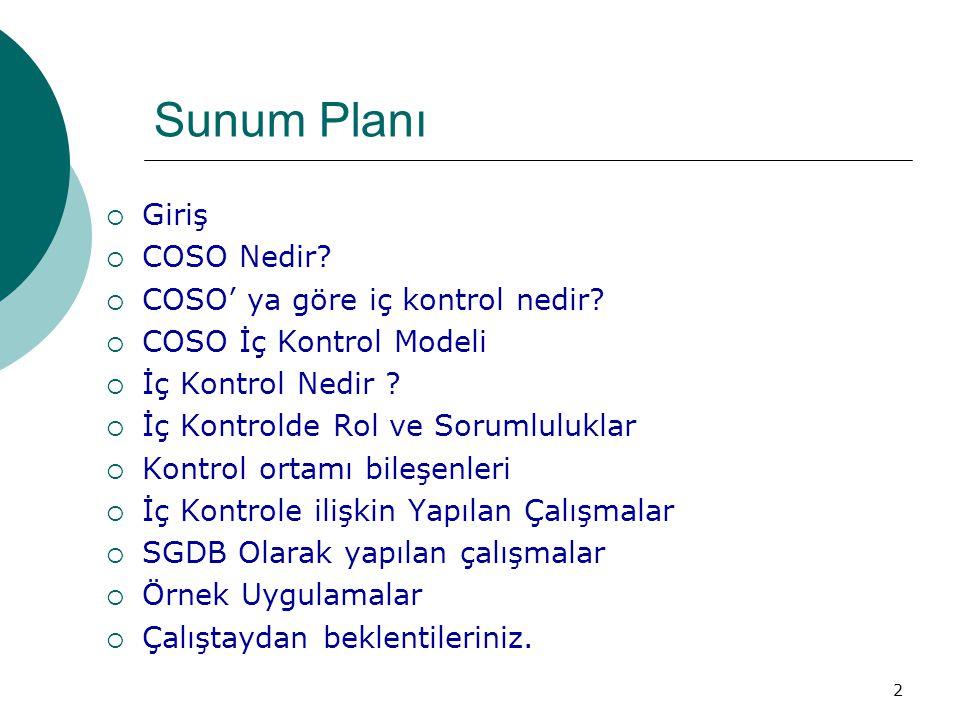 Sunum Planı  Giriş  COSO Nedir?  COSO' ya göre iç kontrol nedir?  COSO İç Kontrol Modeli  İç Kontrol Nedir ?  İç Kontrolde Rol ve Sorumluluklar