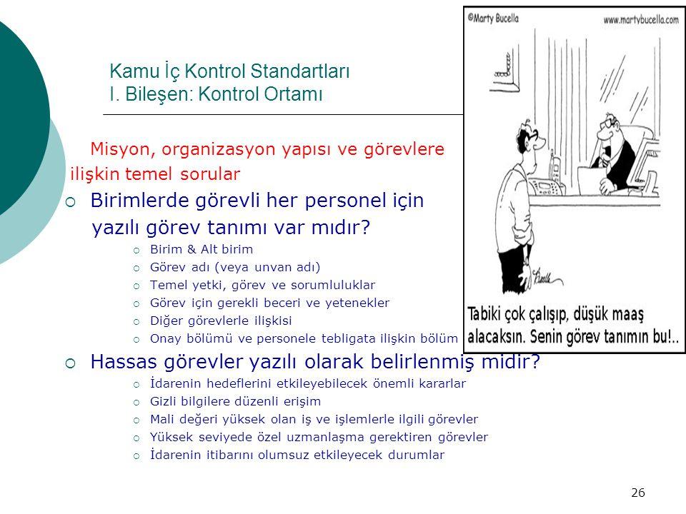 Kamu İç Kontrol Standartları I. Bileşen: Kontrol Ortamı Misyon, organizasyon yapısı ve görevlere ilişkin temel sorular  Birimlerde görevli her person